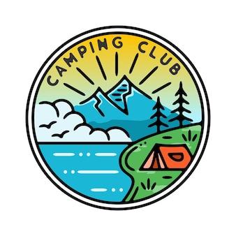 Значок camping club monoline