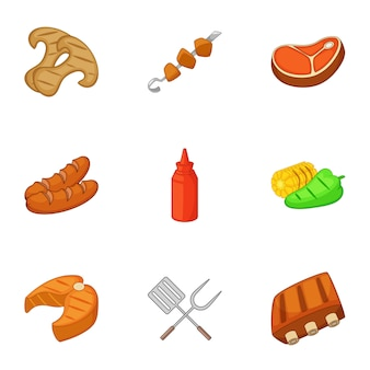 Camping cooking icons set, cartoon style