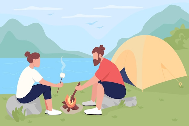 Camping in countryside flat. tourists roasting marshmallows on bonfire.