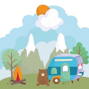 Camping cute bear trailer bonfire trees mountains cartoon