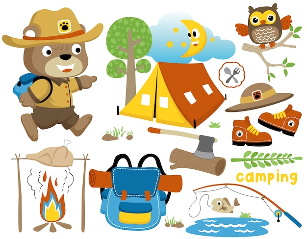 Camping day cartoon with funny scout, set of camping equipment