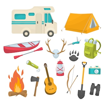 Camping decorative icons set