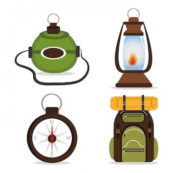 キャンプのデザイン、イラスト。
