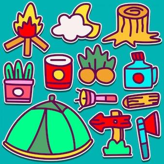Camping doodle design illustration
