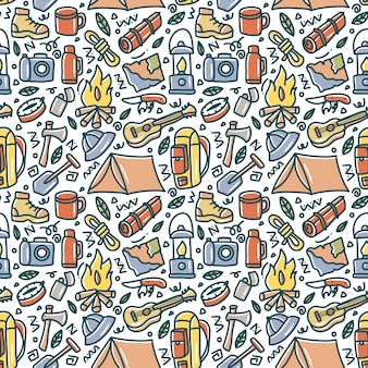 Camping doodle element seamless pattern