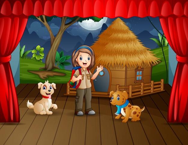 Походная драма девушка-скаут с домашними животными на сцене