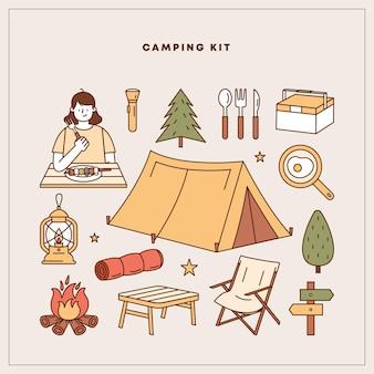 Camping element vector illustration set