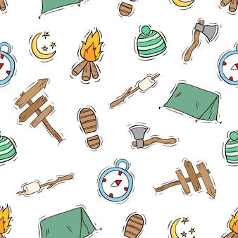 Camping elements in seamless pattern