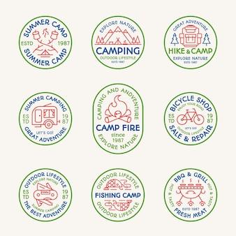 캠핑 엠블럼 세트 컬러 라인 스타일. 탐색 로고, 여행 배지, 탐험 라벨