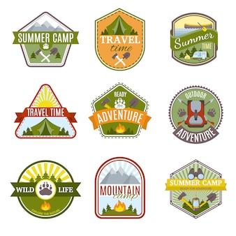 Camping emblems set