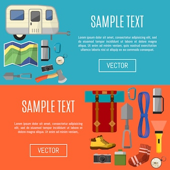 Camping equipment banners template