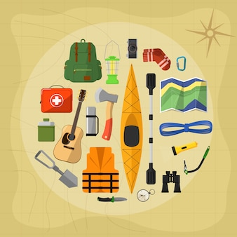 Camping equipment elements and icons