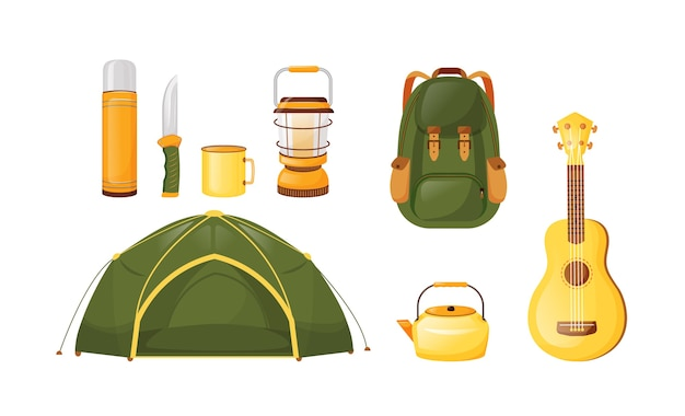 Camping equipment flat color vector objects set. local travel essentials and gear. ecotourism and backpacking. adventure checklist. 2d isolated cartoon illustration on white background