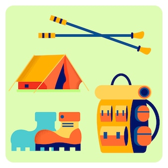 Camping equipment flat vector illustration set