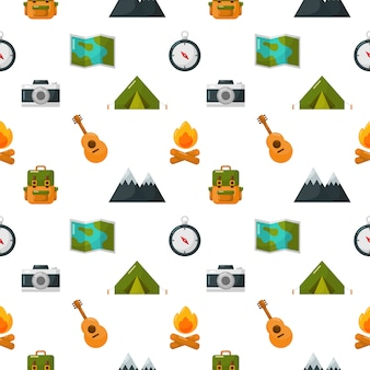 Camping equipment icons set seamless pattern isolate on white