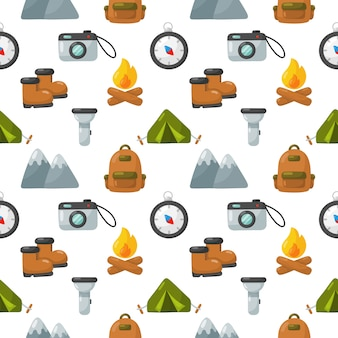 Camping equipment icons set seamless pattern isolated on white background.