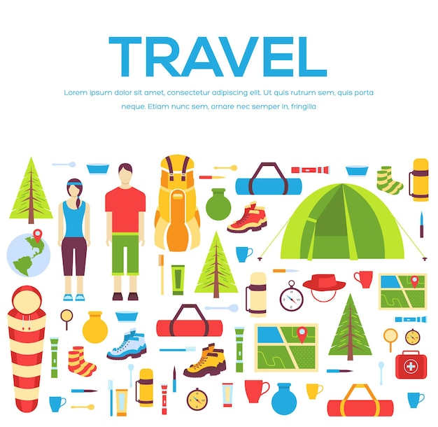 Camping equipment set circle infographics template concept