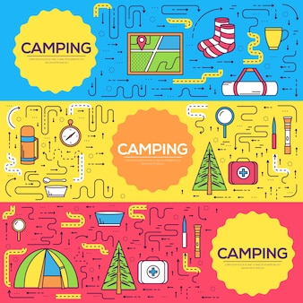 Набор туристического оборудования круг инфографика шаблон. иконки для мобильных приложений вашего продукта.