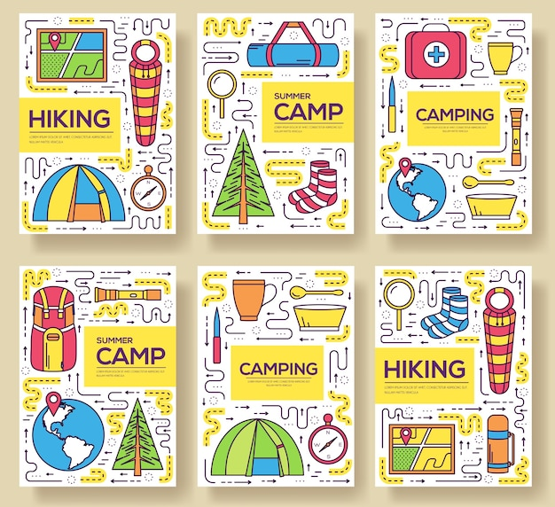 Camping equipment set circle infographics template. icons for your product mobile applications.