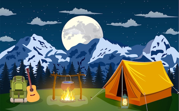 Camping evening scene. tent, campfire, backpack with giutar, pine forest and rocky mountains