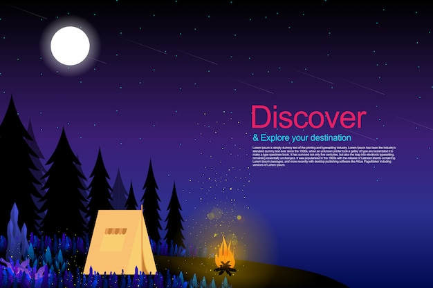 Camping in fantasy forest with starry night