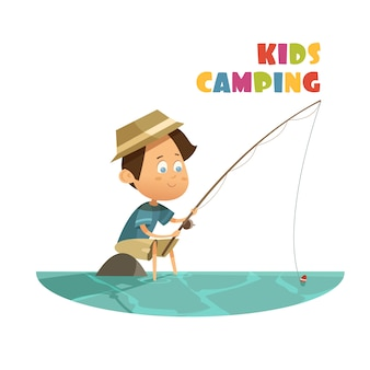 Camping and fishing children concept
