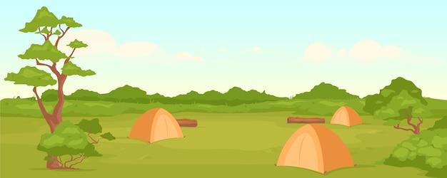 캠핑 플랫 컬러. 자연의 휴양. 여름철 활동적인 레저. 배낭 여행. 배경에 녹색 계곡과 숲과 캠프장 2d 만화 풍경