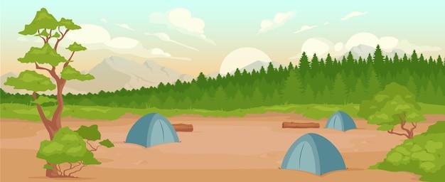 キャンプフラットカラー。自然の中でのレクリエーション。夏のアクティブレジャー。ハイキングの冒険。背景の日の出の間に森と山とキャンプ場2d漫画の風景