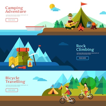 Camping flat horizontal banner set for web design and presentation vector illustration