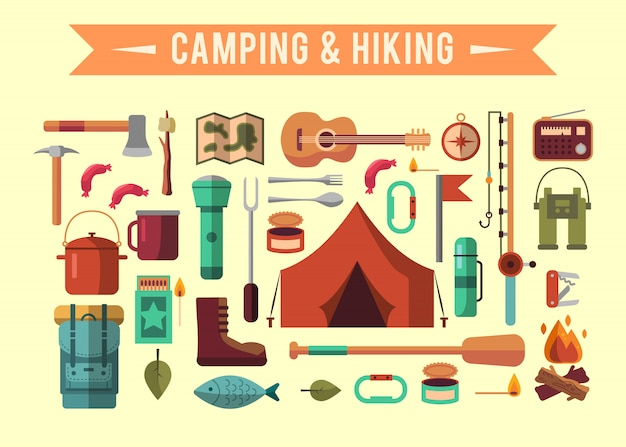 Camping flat set with hiking equipment and outdoors cooking icons