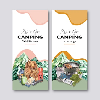 배낭, 손전등, 캠프 포트 및 플라스크 일러스트가있는 캠핑 전단지