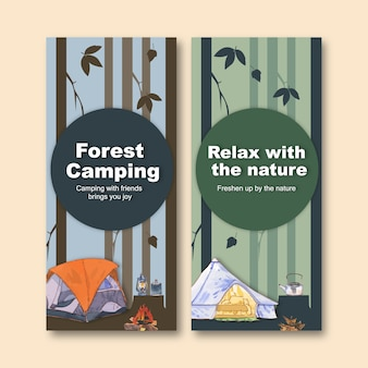 Camping flyer  with camp, lantern, tent and kettle  illustrations.