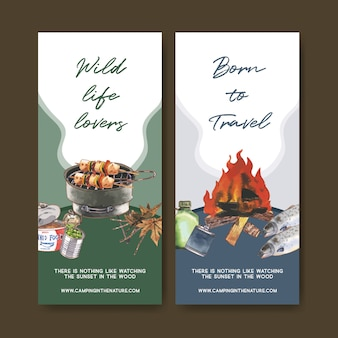 Camping flyer  with canned food and grill stove  illustrations.