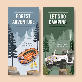 Camping flyer  with inflatable boat, car and lantern  illustrations.