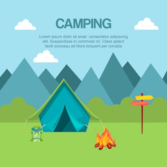 Camping in forest banner vector illustration. vacation and tourism