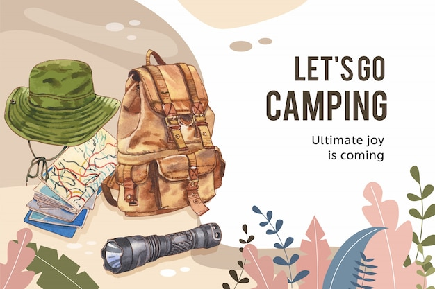 Camping frame  with bucket hat, flashlight and backpack  illustration.