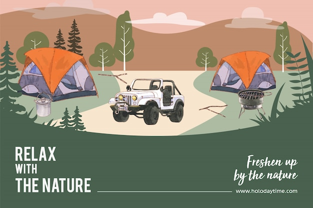 Camping frame with tent, car, pot, mountain and stove illustration.
