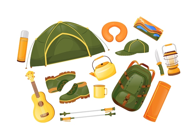 Camping gear flat color objects set. travel equipment. trekking poles. tent and guitarra. adventure journey. hiking essentials 2d isolated cartoon illustration on white background