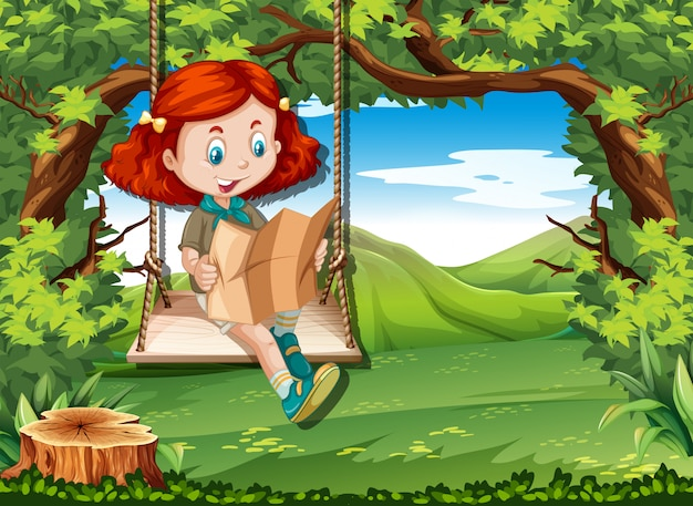 Camping girl reading map on swing