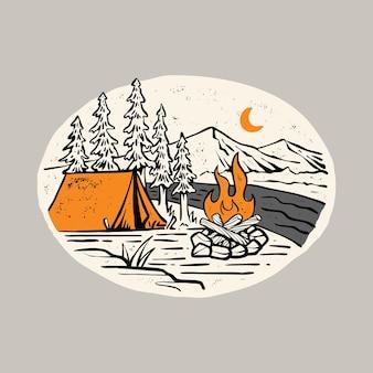Кемпинг, поход, приключения, и костер, графическая иллюстрация, дизайн футболки