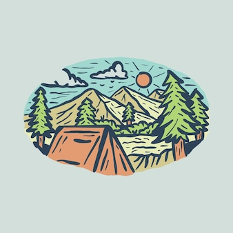 Camping hike adventure with beauty nature graphic illustration art t-shirt design