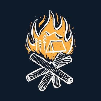 Кемпинг поход и костер графическая иллюстрация арт дизайн футболки