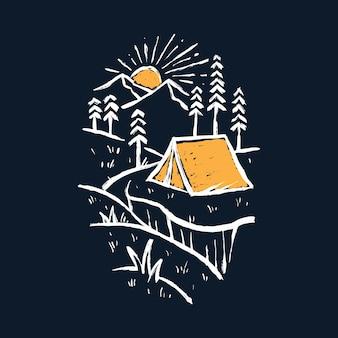 Кемпинг поход природа графическая иллюстрация искусство дизайн футболки