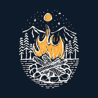 Camping hike and camp fire graphic illustration art t-shirt design