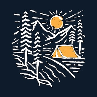 Camping hike and nature graphic illustration art t-shirt design