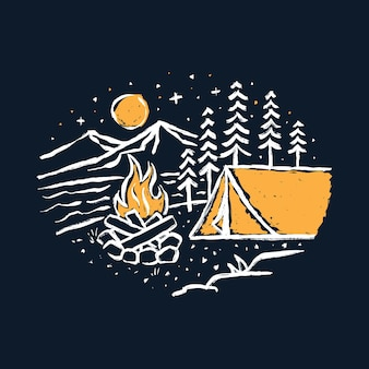 Camping hike nature graphic illustration art t-shirt design