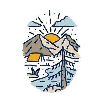 Camping hike nature and sunrise graphic illustration art t-shirt design