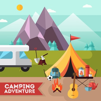 Camping and hiking adventure flat poster with tent guitar