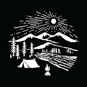 Camping hiking adventure nature graphic illustration vector art t-shirt design