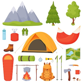 Camping, hiking, camping  set.
